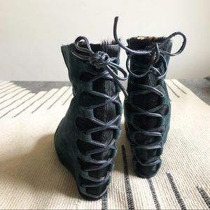 Jeffrey Campbell Teal Suede Boots Size 7
